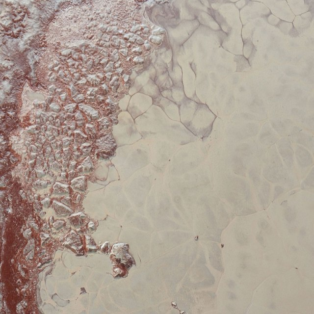Marbled swirls on the shores of Pluto's heart...