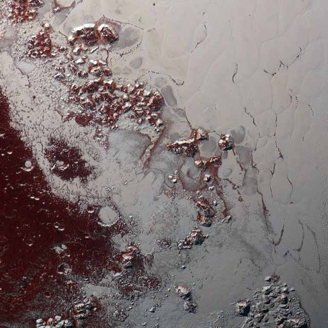 Pluto has such odd landforms. Odd and really pretty!