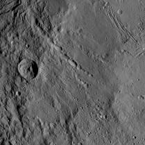 This image shows several of the different kinds of terrain on Ceres' surface.
